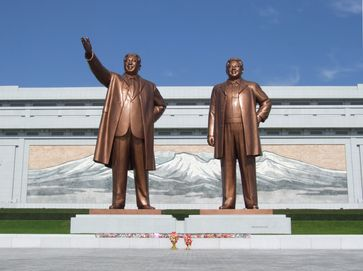 The Mansudae Grand Monuments, depicting Kim Il-sung and his son Kim Jong-il.