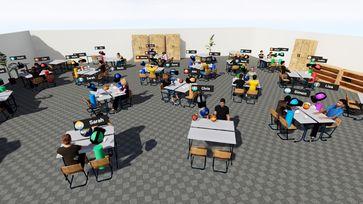 Das Design des Seminarraums auf der Social-VR-Plattform ViLeArn, die an der Uni Würzburg entwickelt wird. Quelle: Bild: Lehrstuhl für Mensch-Computer-Interaktion / Universität Würzburg (idw)