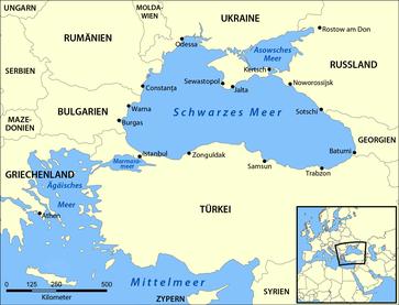 Die Lage des Asowschen Meeres in Osteuropa