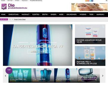 """Screenshot von der Webseite """"die-produkttesterin.eu"""""""