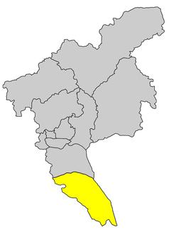 Lage des Stadtbezirks Nansha innerhalb der Stadt Guangzhou