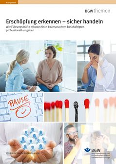"""Titel der BGW-Broschüre """"Erschöpfung erkennen - sicher handeln"""". Bild: BGW."""