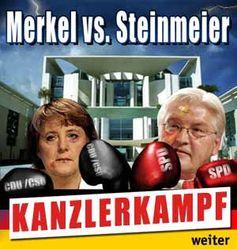 Online-Box-Spiel, Titel, Kanzlerkampf, Kanzler boxen, Angela Merkel und Frank-Walter Steinmeier als Boxer vor dem Kanzleramt in Berlin, Merkel und Steinmeier mit Boxhandschuhen.