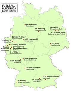 Teilnehmende Vereine der Bundesliga 2019/20