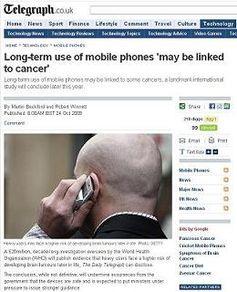 """Bericht am 24. Oktober 2009 im """"Daily Telegraph"""" über den Zusammenhang zwischen Mobiltelefone und das entstehen von Gehirntumore."""