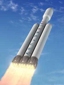 """Großrakete: Konzeptzeichnung der kosteneffizienten """"Falcon Heavy"""". Bild: spacex.com"""