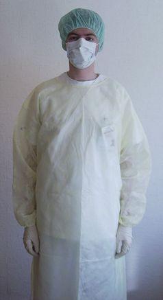 Typische Schutzkleidung in Krankenhäusern beim Umgang mit MRSA-Patienten