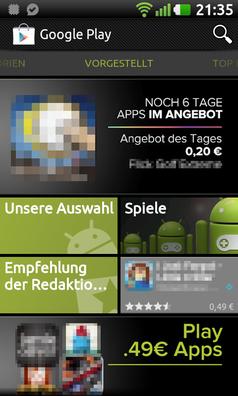 Bildschirmfoto Google Play Store App. Bild: Google Inc.