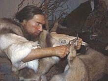 Rekonstruktion im Neanderthal-Museum.