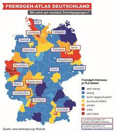 Fremdgeh-Atlas Deutschland: In diesen Regionen wird am meisten fremdgegangen. Bild: TOPAS InformationsTechnologien GmbH