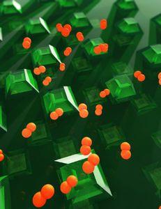 So umtanzen Wasserstoffatome die Nanopartikel.