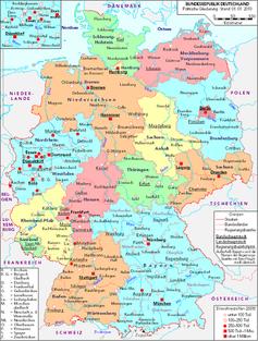 Politische Deutschlandkarte (West und Mitteldeutschland ohne den Osten) Bild: C. Busch, Hamburg / de.wikipedia.org