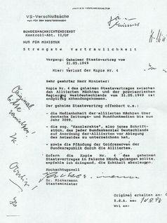 Einzig existierender Beleg der Kanzlerakte, angebl. Bestandteil eines geheimen Staatsvertrages von 1949