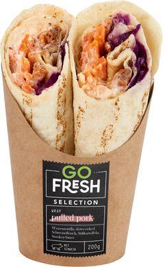 Aus Gründen des vorbeugenden Verbraucherschutzes wird das Produkt Go Fresh Selection Wrap Pulled Pork zurückgerufen.  Bild: Lekkerland SE Fotograf: Lekkerland SE