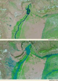 Satellitenbilder des Oberlaufes des Indus vom 1. August 2009 (oben) und vom 31. Juli 2010 (unten). Bild: NASA / de.wikipedia.org