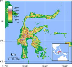 Topographische Karte Sulawesi Bild: de.wikipedia.org