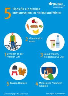 """Mit einfachen Tipps kann man das Immunsystem unterstützen.  Bild: """"obs/BG BAU Berufsgenossenschaft der Bauwirtschaft"""""""