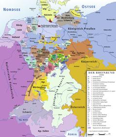 """Königreich Bayern im Rheinbund 1806, mit Tirol im """"Heilig römischen Reich deutscher Nation"""""""