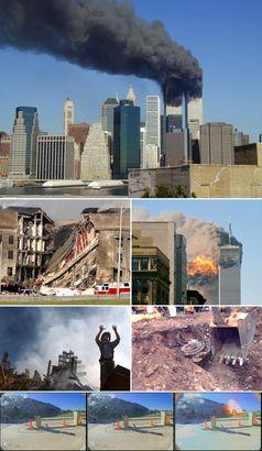 Von oben nach unten: Das brennende World Trade Center; ein Teil des Pentagons bricht zusammen; Flug 175 prallt in das 2 WTC; ein Feuerwehrmann fordert beim Ground Zero Hilfe an; ein Triebwerk von Flug 93 wird geborgen; Flug 77 schlägt in das Pentagon ein.