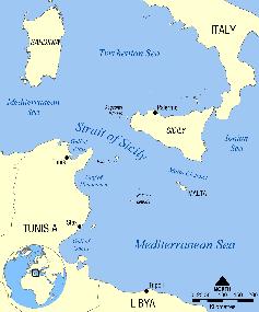 Karte der Straße von Sizilien
