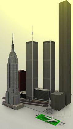 Größenvergleich: Auf dem Bild sind Gebäude in Originalgröße zu sehen die aus 114,5 Billionen Euro bestehen, die aus 100 Euro Scheinen gebaut wurden (Symbolbild)