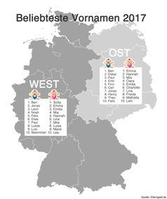 """Beliebteste Vornamen 2017 in Ost-und Westdeutschland. Bild: """"obs/fabulabs GmbH/Elterngeld.de"""""""