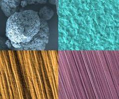 Aus Kunststoffknoten (links oben) werden Fasern (rechts).