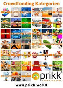 Auf PRIKK kann man unter 39 Crowdfunding-Kategorien wählen. Bild: PRIKK GmbH