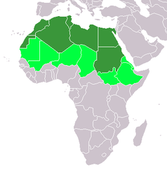 Karte Nordafrikas. Dunkelgrün: UN-Subregion. Hellgrün: Geographisch ebenfalls zu Nordafrika gehörende Staaten.