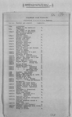 Münchener Kunstfund: Hildebrand Gurlitts Liste der 1945 beschlagnahmten Werke, Seite 1; Central Collecting Point Wiesbaden. Bild: National Archives Washington, screen shot - wikipedia.org
