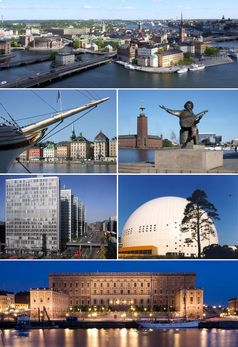 Die Insel Riddarholmen, dahinter Stockholms Altstadt Gamla stan und andere Merkmale Stockholms (Symbolbild)