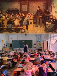 Schule: Über 200 Jahre alte Schule im Vergleich zu einer heutigen. Inovation und Fortschritt ist an Schulen spurlos vorbei gegangen (Symbolbild)