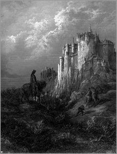 """Camelot auf einer Illustration aus Gustave Dorés """"Idylls of the King"""", 1868"""