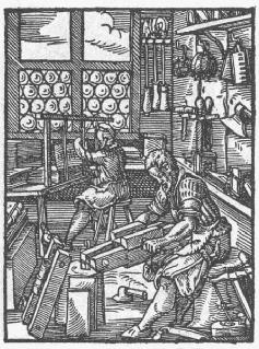Die Arbeit in der Buchbinderwerkstatt (Holzschnitt, 1568)