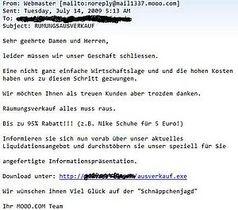 """Schnäppchen-Mail mit dem Betreff """"RUMUNGSAUSVERKAUF"""". Bild: G Data Software AG"""