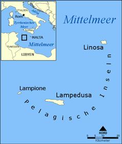 Lampedusa ist die größte der drei Pelagischen Inseln im Mittelmeer zwischen Tunesien und Sizilien.
