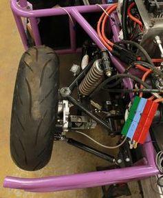 Rad mit E-Antrieb, Bremse, Federung sowie Kontrollsystem.