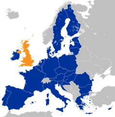 Vereinigtes Königreich (orange) und die übrigen Staaten der Europäischen Union (blau), vor dem geplanten Austritt im März 2019