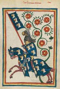 Ritterdarstellung im Codex Manesse, 14. Jahrhundert