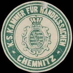 Siegelmarke Königlich Sächsische Kammer für Handelssachen Chemnitz, Handelsgerichtshof  (Symbolbild)