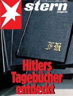 """""""Hitler-Tagebücher entdeckt""""– Schlagzeile des Sterns am 22 April 1983. Bild: en.wikipedia.org"""