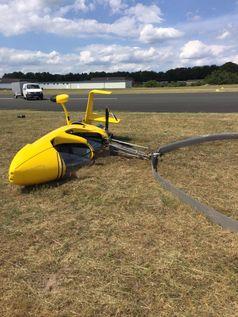 Bild des verunfallten Gyrocopters Bild: Polizei