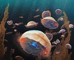 Konzept: Cyber-Quallen im Ozean.