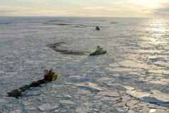 Die drei Eisbrecher der Arctic Coring Expedition 2004 im Packeis des Arktischen Ozeans. Bild: M. Jakobssohn, IODP