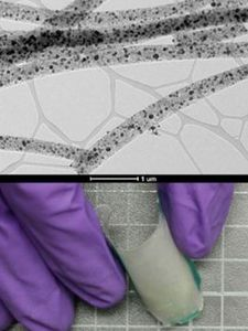 Fasern mit Nanopartikeln ermöglichen flexiblen Katalysator. Bild: ucr.edu