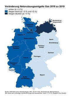 """Am deutlichsten steigen die Netznutzungsentgelte für Gaskunden im Norden Deutschlands. Bild: """"obs/CHECK24 GmbH"""""""