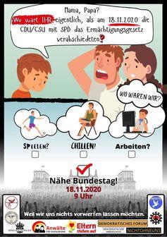 Friedliche Kundgebungen in Berlin am 18.11.2020.