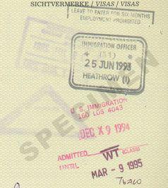 Einreisesichtvermerke, UK (1993) und USA (1994)