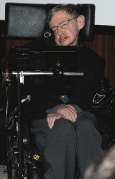 Hawking am 5. Mai 2006 während einer Pressekonferenz in der Bibliothèque nationale de France