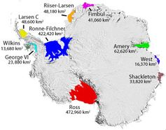 Some named Antarctic iceshelves.
